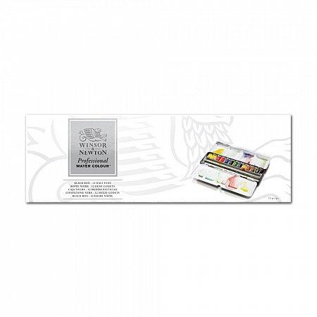 W&N Professional Watercolour Black Box - 12 x 1/2 pans