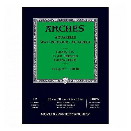 Arches Aquarelle Glued Pad 300g 12 sheets, grain Fin - 23x31cm
